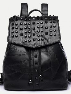 Vinfemass Rivets Decor Solid Color PU Suede Patchwork Backpack