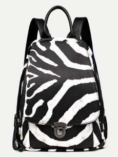 Vinfemass Zebra Stripes Pattern Genuine Leather Backpack