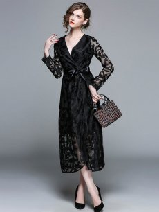 Vinfemass V Neck Lace Patchwork Lacing Long Evening Dress