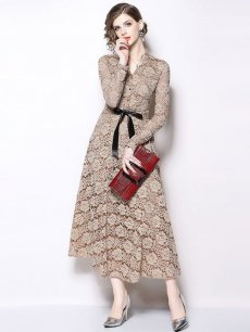 Lace Long Sleeve Maxi Evening Dress