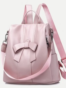 Vinfemass Solid Color Sweet Bowknot Decor PU Backpack