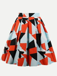 Womens Midi Skirt Vintage Geometrical Print Pleated A Line Knee Length Cotton Skirt