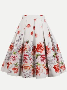 Womens Midi Skirt Vintage Floral Print Pleated A Line Knee Length Cotton Skirt