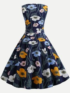 60s Print Lacing Sleeveless Swing Dress