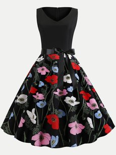 60s Rockabilly Print Sleeveless Swing Dress