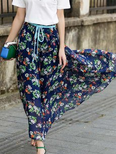 Womens Maxi Long Skirt Vintage Bohemian Floral Print Lacing Pleated High Waist Chiffon Skirt