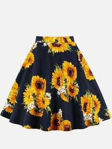 Womens Midi Skirt Vintage Floral Print Pleated Knee Length A Line Cotton Skirt