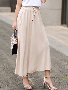 Womens Maxi Long Skirt Vintage Solid Color Pleated A Line Cotton Skirt