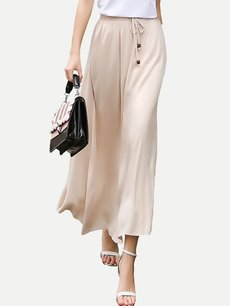 Cream Long Maxi Swing Skirt