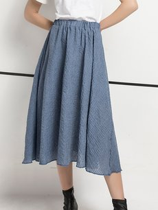 Womens Maxi Long Skirt Vintage Bohemian Solid Color High Waist Pleated A Line Cotton Skirt