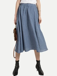 Solid High Waist Long Cotton Skirt