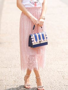 Solid Color Lace Patchwork Two Way Wearing Long Skirt