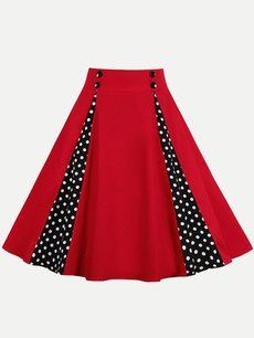 Womens Midi Skirt Vintage Red Polka Dots Print A Line Knee Length Cotton Skirt