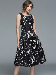 Vinfemass Color Block Jacquard Sleeveless Slim Party Dress