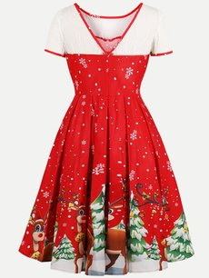 60s Christmas Print Lace Swing Dress