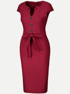 Womens Business Dress Work Office Pencil V Neck Solid Color Knee Length Midi Dress With Sleeves Belt