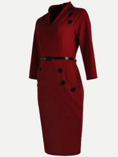 Womens Business Dress Red Work Office Pencil V Neck Long Sleeve Knee Length Midi Dress With Pocket Belt