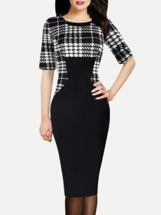 Womens Business Dress Black Work Office Pencil Plaid Print Color Block Knee Length Midi Dress With Sleeves