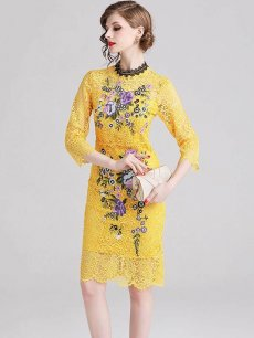 Vinfemass Embroidery Flowers Bodycon Slim Lace Party Dress