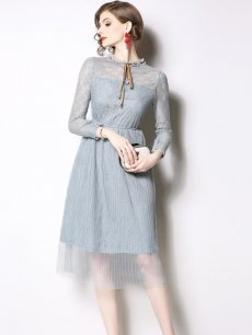 Vinfemass Lace Collar Perspective Mesh Patchwork Party Dress