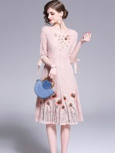 Vinfemass Solid Color Slim Embroidery Flowers Lace Party Dress