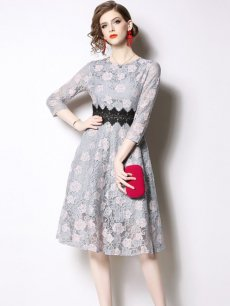 Vinfemass Embroidery Flowers Lace Slim Party Dress