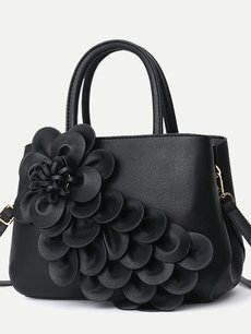 Flowers Decor Solid Color PU Tote Shoulder Bag