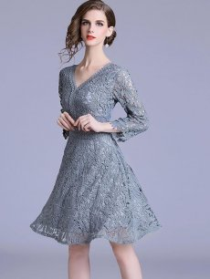 Vinfemass Solid Color V Neck Lace Party Dress