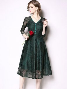 Vinfemass Retro Buttonhole Loops V Neck Solid Lace Party Dress