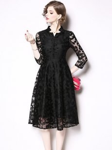 Vinfemass Retro Stand Collar Solid Color Lace Slim Party Dress