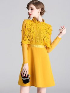 Vinfemass Stand Collar Lace Patchwork Solid Slim Party Dress