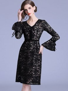 Vinfemass V Neck Solid Color Flare Sleeve Lace Party Dress