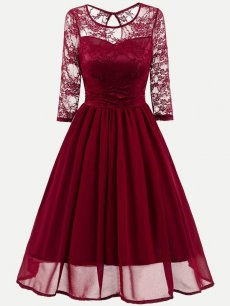 Contrast Lace Mesh Skater Dress
