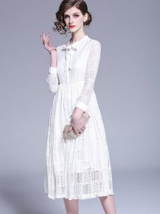 Vinfemass Lacing Collar Solid Color Elasticated Waist Lace Party Dress