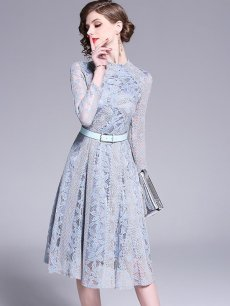 Vinfemass Solid Color Stand Collar Belt Decor Lace Party Dress