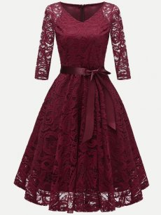 Vinfemass V-neck Lace Belted Skater Party Dress