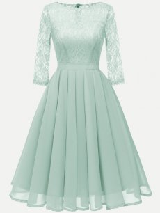 Vinfemass Round Neck Lace Solid Color Party Skater Dress