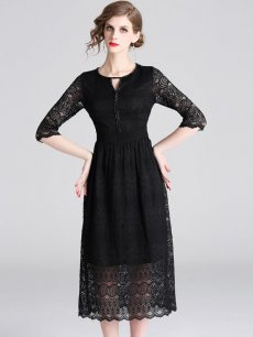 Vinfemass Solid Color Hollow Lace Party Dress