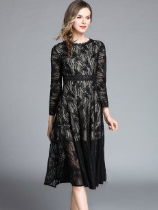 Vinfemass Lacing Collar Solid Color Lace Slim Party Dress