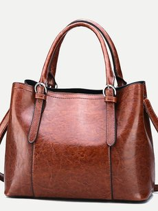 Solid Color PU Boston Tote Shoulder Bag