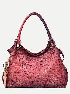 Vinfemass Retro Hollow Embroidery Flowers Accessories Pendant Large Tote Shoulder Bag