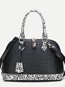 Vinfemass Snake Pattern Metal Lock Decor Shell Shoulder Bag