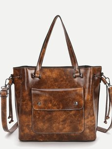 Solid Color Front Pocket Waxy Leather Large Shoulder Bag