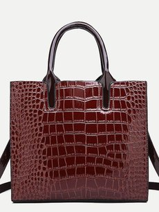 Vinfemass Solid Color Crocodile Pattern Simple Shoulder Bag