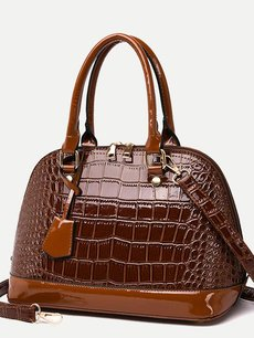 Solid Crocodile Pattern Shell Shape Shoulder Bag