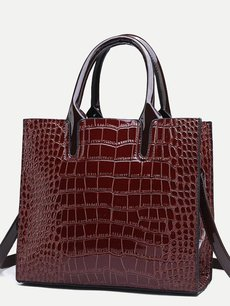 Solid Color Crocodile Pattern Simple Shoulder Bag