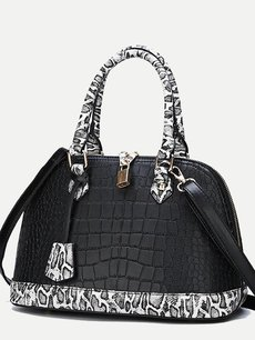 Snake Pattern Metal Lock Decor Shell Shoulder Bag