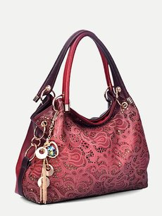Retro Hollow Embroidery Flowers Accessories Pendant Large Tote Shoulder Bag