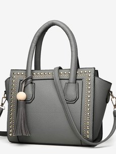Vinfemass Solid Color Rivets Tassels Decor Wings Shape Tote Shoulder Bag