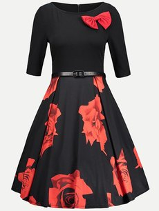 60s Black Floral Print Belted Swing Dress